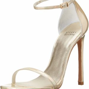 Gold Stuart Weitzman Women's Nudist Sandal Dress Heels Designer Shoes