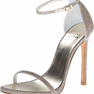 Platinum Stuart Weitzman Women's Nudist Dress Heeled Sandal Designer Shoes