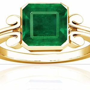Men's 18K Yellow Gold Emerald Cut Luxury Solitaire Ring