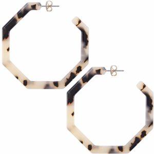Women's Acrylic Resin Hoop Geometric Octagon Earrings