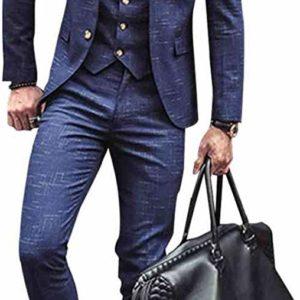 Men's 3 Piece Classic SlimBright Blue Check Suit Classy Vintage Style