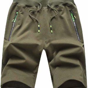 Men's Elastic Waist Casual Green Long Shorts with Zipper Pockets