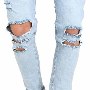 Men's Destroyed Blue Skinny Distressed Denim Jeans SlimPants