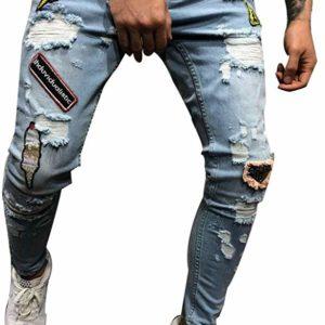 Men's Destroyed Blue Skinny Ripped Slim Biker Jeans Stretch Pants