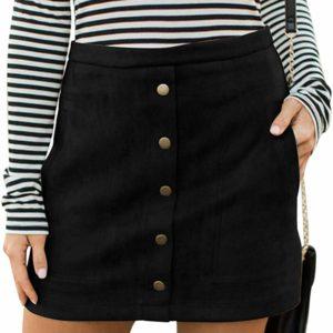 Women's Button Front High Waist Black Mini Skirt Tumblr