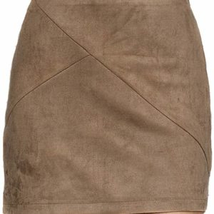 Women's High Waisted Camel Faux Suede Mini Skirt Tumblr