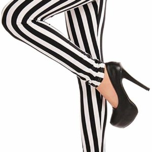 Women's Black and White Striped Stretchy High Waisted Casual Legging Pants