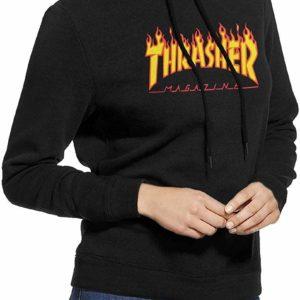 Thrasher Magazine Women's Casual Pullover Hoodie Girls Hooded Sweater