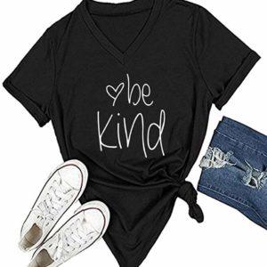 Be Kind Women's Black Tee Shirt V-Neck Casual Short Sleeve Top