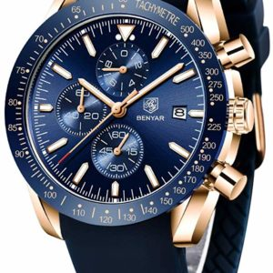 Men's Stylish Quartz Business Blue and Gold Waterproof Watch