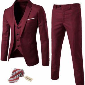 Men's Slim-Fit Dark Red Tuxedo Suit Jacket Prom Tux