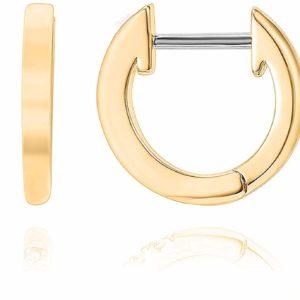 Women's 14K Gold Plated Cuff Small Hoop Earrings