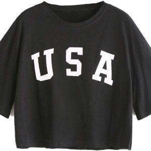 Women's USA Black Crop Tee