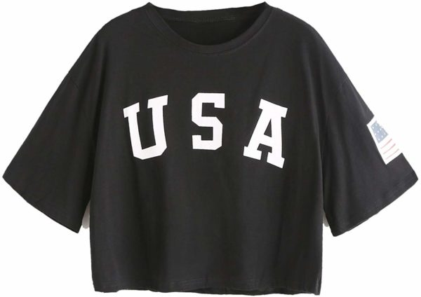 USA Black Crop Top Short Sleeve Women's Graphic T-Shirt