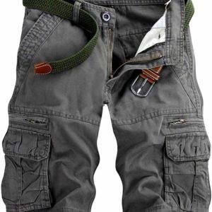Men's Casual Black Jean CargoLong Shorts with Pockets