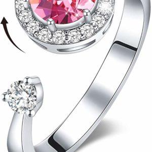 Ladies Solitaire 18K White Gold Swarovski Birthstone Ring