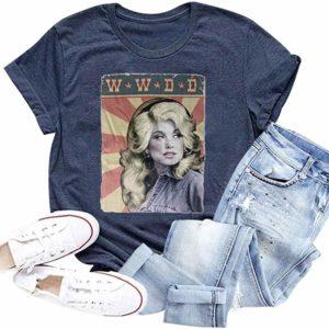 Women's Blue Retro Graphic T-Shirt Short Sleeve Tee
