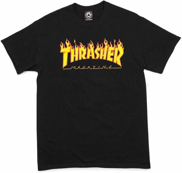 Thrasher Black Skate Tee Flame T-Shirt