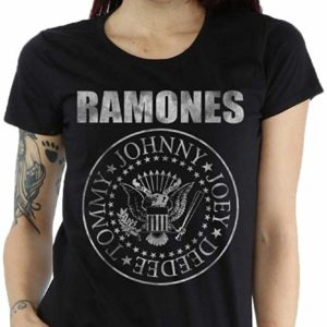 Ramones Women's Distressed Seal Black T-Shirt