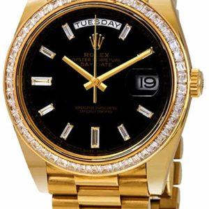 Men's Rolex Day-Date Black Dial 18K Yellow Gold Watch
