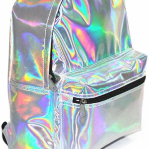 Girl's Silver Holographic Iridescent Leather Backpack Travel