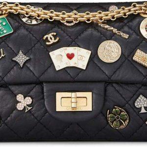 CHANEL Black Quilted Calfskin Casino Double Flap Handbag