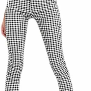 Women's Pencil Pants Vintage High Waisted Skinny Checkered Trousers