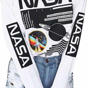 White Nasa Women's Tee Long Sleeve Graphic T-Shirt