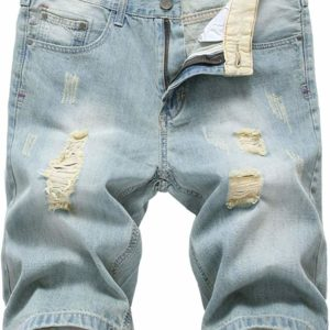 Men's Casual Ripped Blue Jean Distressed Denim Shorts for sale