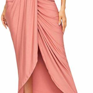 Women's Casual Pink Asymmetrical Tumblr High Waisted Skirt