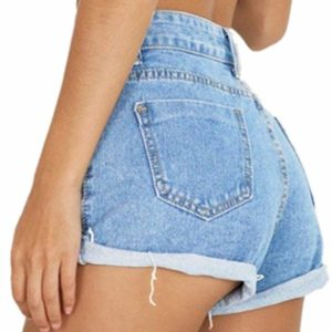 Women's Vintage Denim High Waisted Jeans Shorts