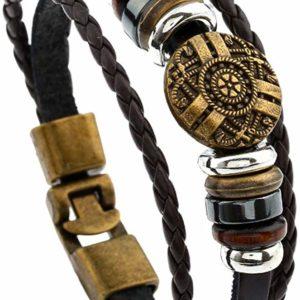 Gents Leather Bracelet Vintage Cuff Bangle for Men