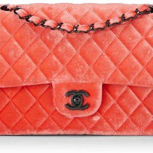 CHANEL Orange Velvet Double Flap Luxury Shoulder Bag