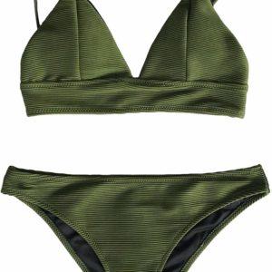 Women's Lace-Up Adjustable Two-Piece Green Bikini Set