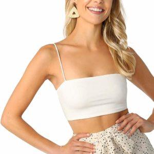 Women's Basic White Strap Tube Crop Top