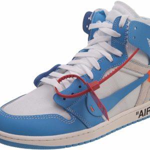 Off-White Nike Air Jordan 1 Retro High Light Blue Designer Street Style Sneakers