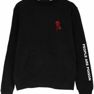 Women's Black Rose Letter Print Black Hoodie Pullover Sweatshirt