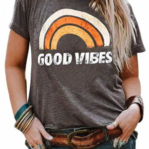 Good Vibes Women's Grey Tee Vintage Short Sleeve Casual T-Shirt