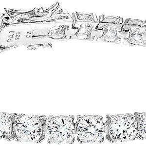 Girls Silver Cubic Zirconia Tennis Plated Sterling Bracelet
