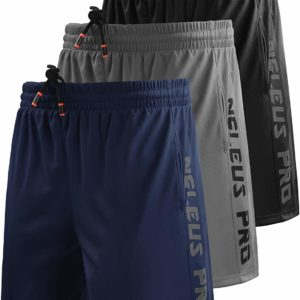 Men's Athletic Running Casual Long Navy Blue Shorts with Pockets