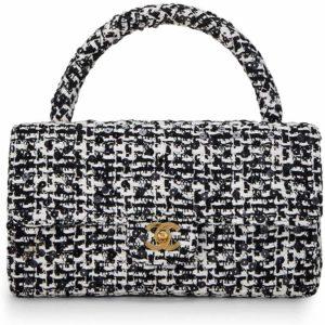 CHANEL Black Tweed Double Bag Medium Luxury Handbag