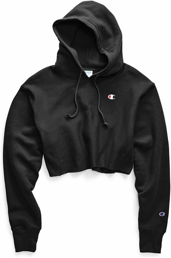 Black Champion LIFE Women's Cropped Cut Off Hoodie