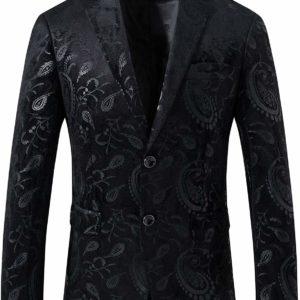 Men's Slim-Fit Black Jacquard Tuxedo Suit Luxury SkinnyJacket