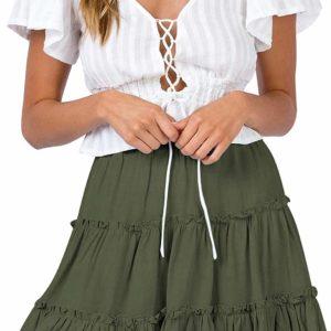 Women's Green High Waisted Skater Mini Skirt Tumblr