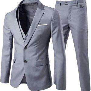 Men's 3-Piece Slim-Fit Grey Suit Blazer Business Gray Jacket