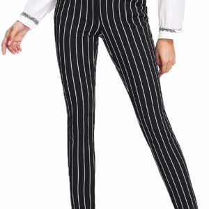 Women's Black Striped High Waisted Pants Outfit