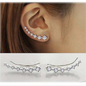 Women's 7 Crystals Ear Cuffs Tops Silver Earrings