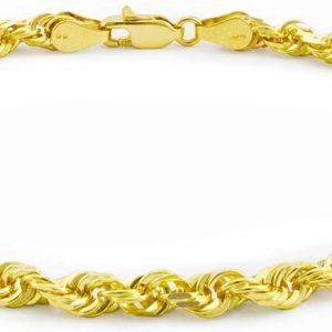 Men's 14k Yellow Gold Solid Rope Chain Gents Bracelet