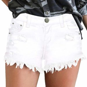 Women's Casual White Mid Waisted Ripped Distressed Shorts