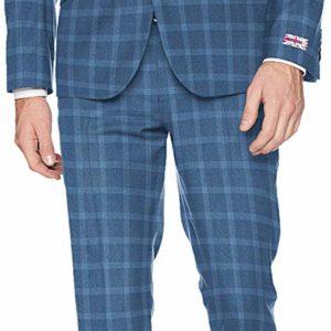 Men's Slim Stretch Bright Blue Check Business Suit